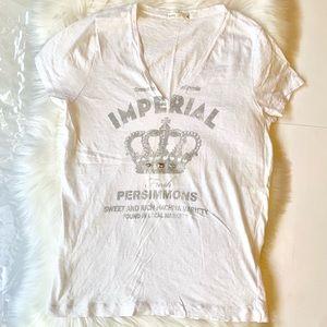 J. Crew White V-Neck Cotton T-Shirt Women XL